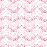 Roze de chevron naadloos patroon van lineartbladeren Stock Foto