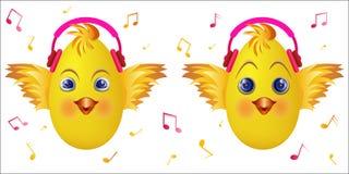 Roze de muziekhoofdtelefoons van het Emoticonkuiken Stock Fotografie