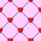 Roze de tegelpatroon van het valentijnskaarten rood hart Stock Foto's