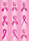 Roze de voorlichtingslinten van borstkanker Royalty-vrije Stock Afbeeldingen