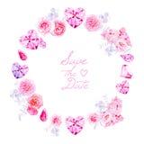 Roze diamanten, pioenen en rozen om vectorkader vector illustratie