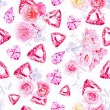 Roze diamanten, pioenen en rozen vectordruk royalty-vrije illustratie