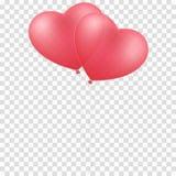 Roze die ballonshart op een transparante achtergrond wordt geïsoleerd Ballons voor het huwelijk Grafisch element voor uw ontwerp  stock illustratie