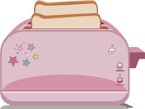 Roze die broodrooster op witte achtergrond wordt geïsoleerd Stock Foto's