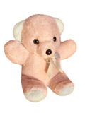 Roze die teddybeer op witte achtergrond wordt geïsoleerd Stock Foto's