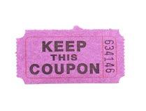 Roze document coupon die op wit wordt geïsoleerde royalty-vrije stock fotografie