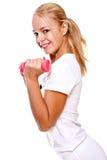 Roze domoren in de handen van vrouwen Stock Foto