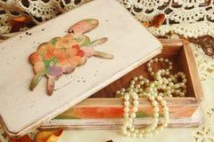 roze doos voor juwelen Stock Afbeelding