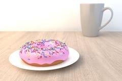 Roze doughnut op houten lijst Royalty-vrije Stock Afbeeldingen