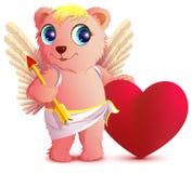 Roze draag engel met vleugels houdt hart en pijl Hearts van de Valentijnskaart van de prentbriefkaar op een rode achtergrond Stock Afbeelding