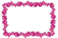 Roze dray de bloesemkader van rozenbloemen Stock Foto