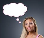 Roze droom van een blond meisje Stock Afbeelding