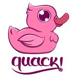 Roze Duck Quack vector illustratie