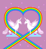 Roze eenhoorn op purpere hemel Hart van regenboog LGBT-karakters F Stock Foto's