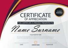 Roze Elegantie horizontaal certificaat met Vectorillustratie, het witte malplaatje van het kadercertificaat met schoon en modern  vector illustratie