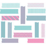 Roze en Aqua Washi Tape Graphics-reeks vector illustratie