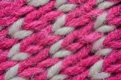 Roze en Biege Gebreid Textuurclose-up Royalty-vrije Stock Afbeelding