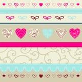 Roze en blauw bloemenornament Stock Afbeeldingen