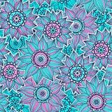 Roze en blauw zonnebloempatroon Royalty-vrije Stock Afbeelding
