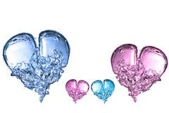 Roze en blauwe bellenharten Stock Foto