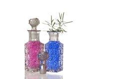 Roze en blauwe glasbuikflessen Royalty-vrije Stock Foto's