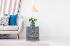 Roze en blauwe woonkamer stock foto's