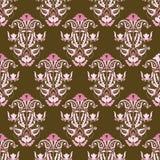 Roze en bruin naadloos vectorbehang Stock Fotografie