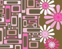 Roze en bruine rechthoeken en bloemencollage Royalty-vrije Stock Foto
