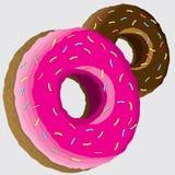 Roze en chocolade donuts Vectorillustratie, pictogrammen vector illustratie