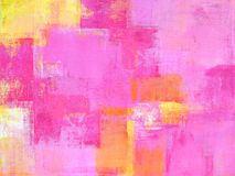 Roze en Geel Abstract Art Painting Royalty-vrije Stock Foto