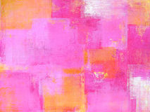 Roze en Geel Abstract Art Painting Royalty-vrije Stock Afbeeldingen