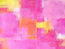 Roze en Geel Abstract Art Painting Stock Afbeelding