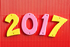 2017 in roze en gele aantallen Royalty-vrije Stock Fotografie
