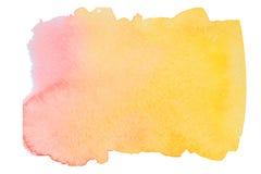 Roze en gele waterverfvlek Stock Afbeelding