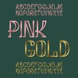 Roze en Gouden lettersoorten Metaal gestempelde doopvont Geïsoleerd Engels alfabet Stock Foto