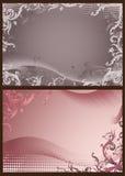 Roze en grijze bloemenachtergronden met halftone Stock Afbeelding