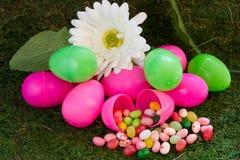 Roze en Groene Paaseieren met Jelly Beans op Daisy op Groen Gras stock foto