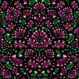 Roze en groene struiken, takken en bladeren op een zwarte achtergrond stock illustratie