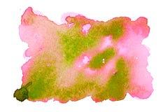 Roze en groene waterverfvlek Stock Afbeelding