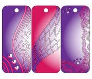 Roze en lilac markeringen of etiketten met harten en krullen Vector Illustratie