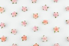 Roze en oranje document bloemen horizontaal patroon Royalty-vrije Stock Afbeeldingen