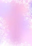 Roze en purpere de winterdocument achtergrond met sneeuwvlokgrens Stock Foto
