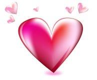 Roze en rode hart het van de liefde, Royalty-vrije Stock Foto's