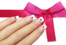 Roze en rode harten. stock foto