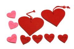 Roze en rode harten Stock Afbeelding