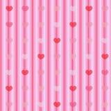 Roze en rode harten op gestreepte doek naadloze achtergrond Stock Afbeeldingen