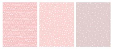 Roze en Witte Abstracte Hand Getrokken Kinderachtige Vectorpatroonreeks royalty-vrije illustratie
