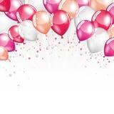 Roze en witte ballons Stock Fotografie