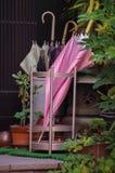 Roze en witte gevormde paraplu in tribune, Kyoto Japan Royalty-vrije Stock Afbeeldingen