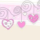 Roze en witte harten Stock Afbeeldingen